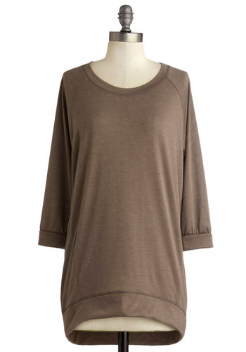 Afternoon Coffee Shop Tunic - Mid-length, Knit, Brown, Solid, Casual, 3/4 Sleeve, Basic, Minimal, Scoop