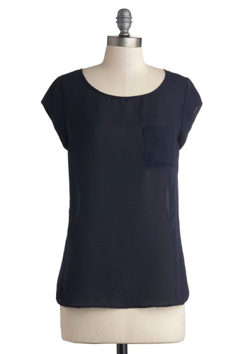 Preppy for Anything Top - Blue, Solid, Pockets, Good, Mid-length, Chiffon, Sheer, Woven, Minimal, Cap Sleeves, Basic, Scoop, Blue, Short Sleeve