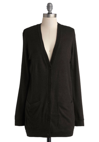 Take Your Term Cardigan in Black - Knit, Black, Solid, Buttons, Pockets, Long Sleeve, Good, Scholastic/Collegiate, Variation, Basic, Black, Long Sleeve