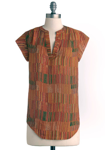 Reflected in Art Top - Brown, Red, Yellow, Green, White, Casual, Good, Mid-length, Chiffon, Woven, Multi, Safari, Cap Sleeves, V Neck, Orange, Short Sleeve