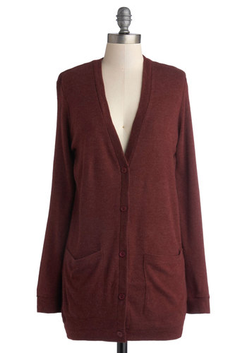 Take Your Term Cardigan in Maroon - Red, Solid, Long Sleeve, Good, Woven, Buttons, Pockets, Scholastic/Collegiate, Variation, Basic, Red, Long Sleeve