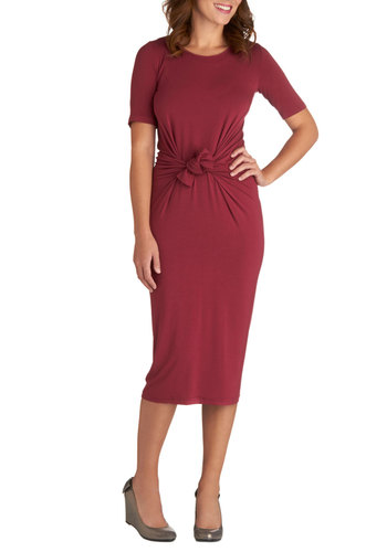 Wine and Chaise Party Dress - International Designer, Long, Knit, Red, Solid, Sheath / Shift, Short Sleeves, Better, Scoop, Party, Work, Eco-Friendly