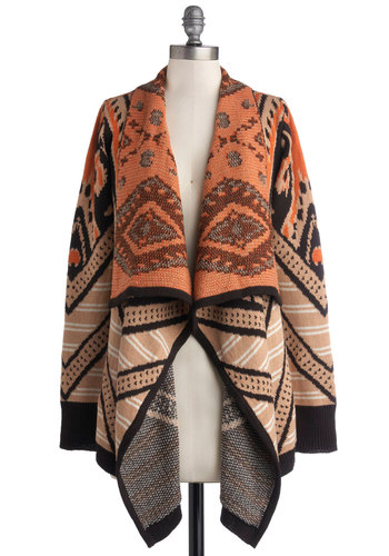 Bonafide Bohemian Cardigan - Knit, Tan, Orange, Black, Print, Casual, Long Sleeve, Boho, Fall, Winter, Brown, Long Sleeve, Long