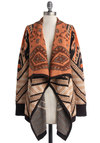 Bonafide Bohemian Cardigan - Knit, Tan, Orange, Black, Print, Casual, Long Sleeve, Boho, Fall, Winter, Brown, Long Sleeve