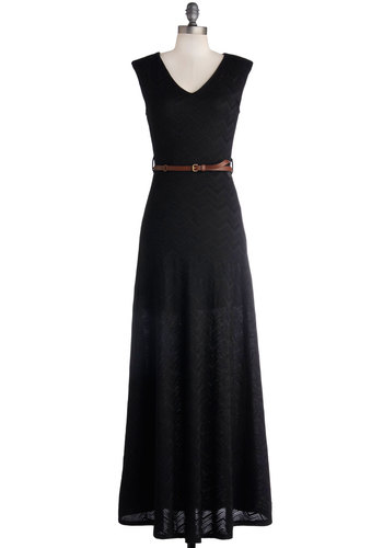 I Love Glamp Dress - Knit, Long, Black, Solid, Belted, Casual, Maxi, Sleeveless, Good, V Neck, Summer