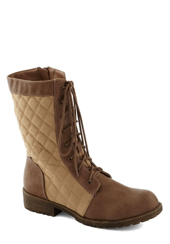 Quilt to Last Boot - Tan, Brown, Quilted, Safari, Colorblocking, Good, Lace Up, Low, Faux Leather, Woven, Casual, Military, Winter