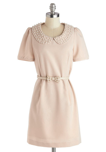 Just the Right Touch Dress - Mid-length, Woven, Cream, Solid, Bows, Pearls, Peter Pan Collar, Belted, Party, Sheath / Shift, Short Sleeves, Better, Collared, Vintage Inspired, 60s, Tan / Cream, Pleats, Work