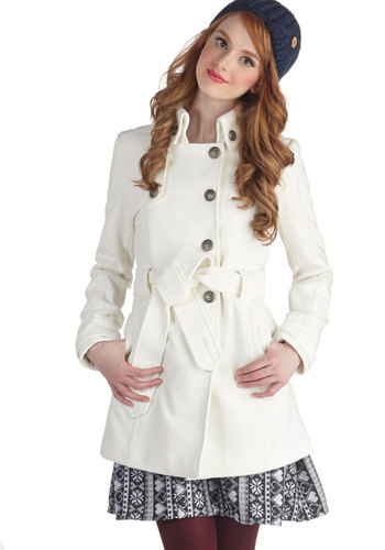 Out in the Open Air Coat in Ivory by Jack by BB Dakota - White, Solid, Buttons, Belted, Long Sleeve, Long, 4, Pockets, Winter, Variation, White