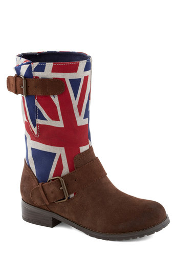 Sojourn Soon Boot in Union Jack by BC Footwear - Brown, Red, Blue, White, Buckles, Leather, Better, Novelty Print, Casual, Variation