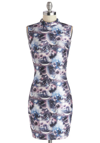 Lunar Tunes Dress - Mid-length, Knit, Blue, Grey, Cutout, Party, Bodycon / Bandage, Sleeveless, Better, Multi, Novelty Print, Girls Night Out, Mini
