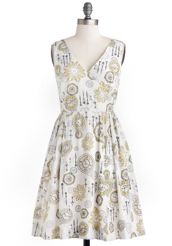 Time is of the Elegance Dress by Bea & Dot - Private Label, Woven, Yellow, Black, Novelty Print, Pockets, Casual, A-line, Sleeveless, Better, V Neck, Exclusives, 20s, Multi, White, Show On Featured Sale, Mid-length