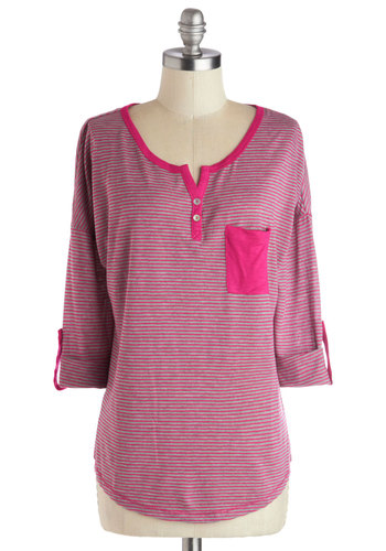 Guava Get Together Top - Mid-length, Knit, Pink, Grey, Stripes, Buttons, Pockets, Casual, Good, 3/4 Sleeve, Pink, Tab Sleeve, Spring, Valentine's