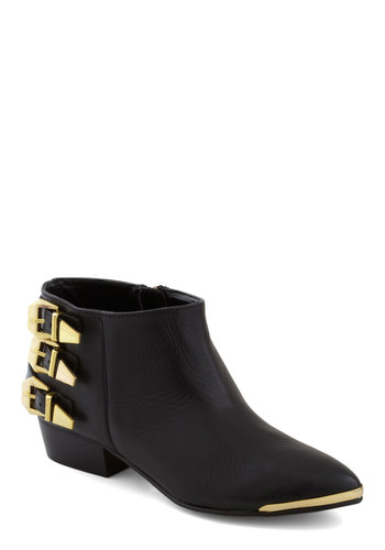 Very Well-Appointed Bootie - Black, Solid, Buckles, Low, Leather, Better, Urban, Military