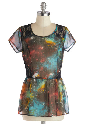 Space Yourself Top - Multi, Red, Yellow, Green, Blue, Black, Casual, Peplum, Short Sleeves, Good, Mid-length, Chiffon, Sheer, Woven, Print, Scoop, Multi, Short Sleeve