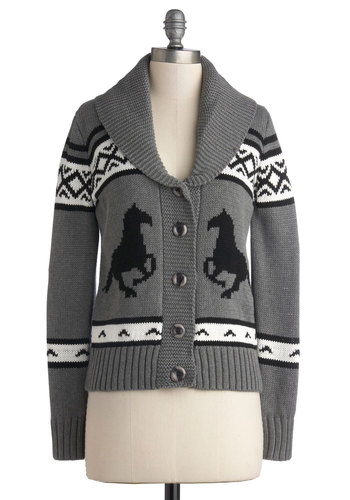 Sleigh to Chalet Cardigan - Grey, Black, White, Print with Animals, Long Sleeve, Better, Mid-length, Knit, Buttons, Winter, Holiday, Grey, Long Sleeve