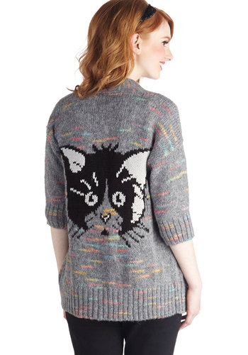 Haute Cat-ure Cardigan - Grey, Print with Animals, Cats, Better, 3/4 Sleeve, Mid-length, Knit, Black, White, Multi, Casual, Quirky, Novelty Print, Grey, 3/4 Sleeve