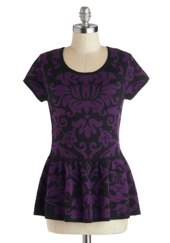Your Own Spin Top - Purple, Black, Peplum, Short Sleeves, Better, Mid-length, Cotton, Knit, Print, Scoop, Purple, Short Sleeve, Holiday Party