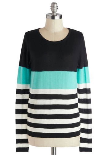 Ever So Keen Sweater - Mid-length, Knit, Blue, White, Stripes, Casual, Long Sleeve, Good, Multi, Black, 90s, Multi, Long Sleeve