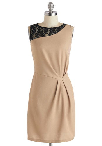 Choose to be Chic Dress - Mid-length, Woven, Tan, Black, Lace, Ruching, Party, Shift, Sleeveless, Good, Scoop, Work, Cocktail
