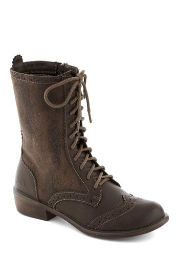 Weatherworn Report Boot in Molasses - Solid, Boho, Menswear Inspired, Low, Lace Up, Faux Leather, Better, Brown, Casual, Military