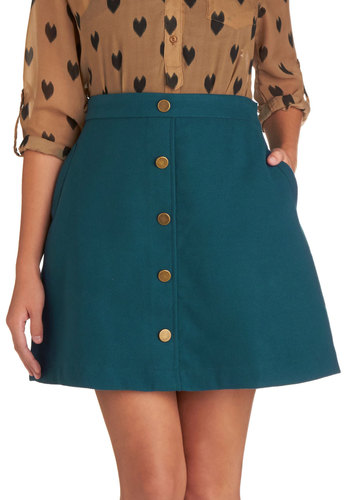 Back to Scholastic Skirt in Teal - Short, Blue, Buttons, A-line, Exclusives, Pockets, Casual, Scholastic/Collegiate, 60s, Blue