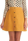 Back to Scholastic Skirt in Pencil Yellow - Short, Yellow, Solid, Buttons, A-line, Exclusives, Pockets, Casual, Scholastic/Collegiate, 60s, Yellow