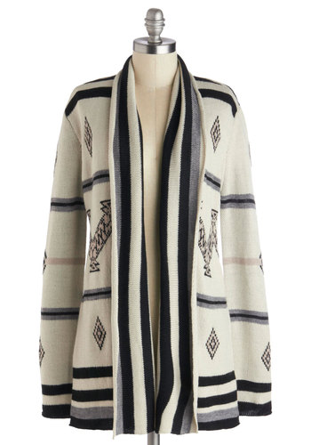To Big Sur with Love Cardigan by BB Dakota - Black, Print, Casual, Long Sleeve, Knit, Cream, White, Long Sleeve