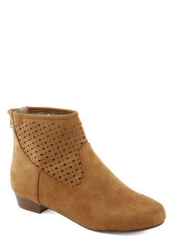 Music to My Ears Bootie - Tan, Solid, Cutout, Boho, Low, Good, Faux Leather