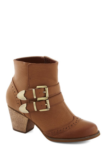 Haute of Town Bootie in Tan by Restricted - Tan, Solid, Buckles, Steampunk, Mid, Faux Leather, Better, Variation