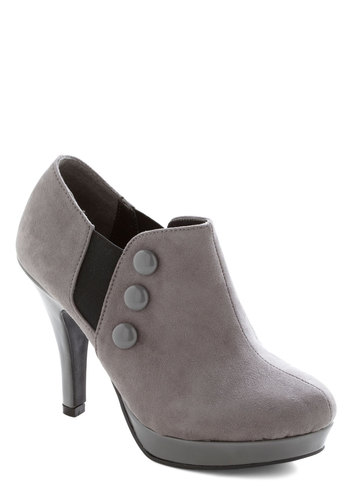 Button Up and Running Bootie - Grey, Black, Buttons, High, Good, Platform, Solid