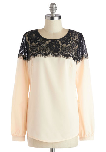 I Feel Fineness Top - Mid-length, Chiffon, Sheer, Woven, Cream, Black, Solid, Buttons, Lace, Work, Long Sleeve, Scoop, White, Long Sleeve
