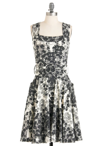 Guest of Honor Dress in Floral by Effie's Heart - Casual, Black, Grey, White, Floral, Pockets, Tank top (2 thick straps), 60s, Belted, Best Seller, Pinup, Variation, Mid-length, Fit & Flare
