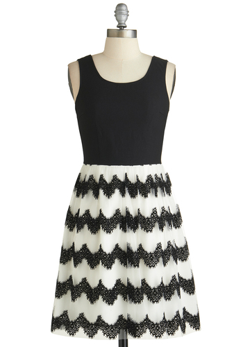 Oh My Garlands Dress - Short, Knit, Woven, Black, White, Lace, Scallops, Party, A-line, Sleeveless, Exclusives, Scoop, 20s