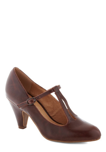 Bourbon Legend Heel by Chelsea Crew - Brown, Solid, Work, Mid, Faux Leather, Party, Vintage Inspired, 20s, 30s, 40s, T-Strap, Better