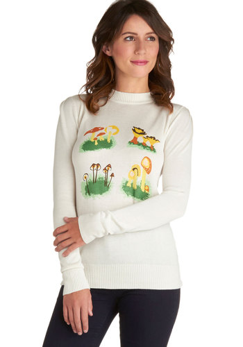 Me Oh Mycology Sweater by Bea & Dot - Knit, Private Label, Cream, Orange, Yellow, Green, Novelty Print, Mushrooms, Long Sleeve, Exclusives, Crew, White, Long Sleeve, Mid-length