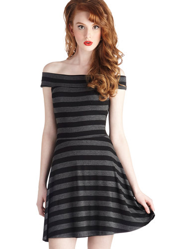Happily Ever After Party Dress - Short, Knit, Black, Grey, Stripes, Party, A-line, Better, Off the Shoulder, Jersey