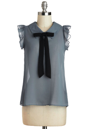 French Countryside Top - Blue, Black, Solid, Bows, Peter Pan Collar, Work, Sleeveless, Sheer, Mid-length, Folk Art, Blue, Sleeveless