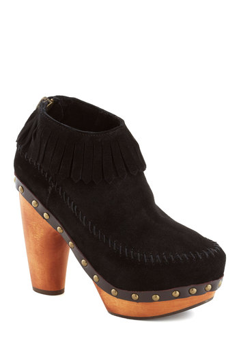 Clog Lady Bootie - Black, Solid, Fringed, Studs, Vintage Inspired, 60s, High, Leather, Tan / Cream, 70s, Platform, Chunky heel, Best