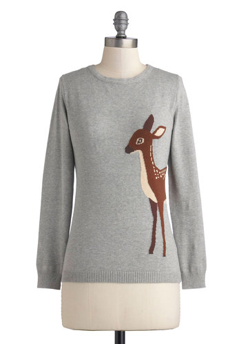 Fawn-semble Sweater by Sugarhill Boutique - Mid-length, Cotton, Knit, Grey, Brown, Print with Animals, Darling, Long Sleeve, International Designer, Casual, Fall, Crew, Novelty Print, Holiday, Grey, Long Sleeve, Top Rated
