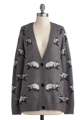 The Artful Badger Cardigan - Grey, White, Print with Animals, Casual, Quirky, Long Sleeve, International Designer, Mid-length, Knit, Buttons, Grey, Long Sleeve