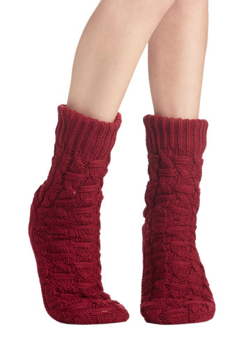 Cheri Jubilee Slipper Socks - Knit, Red, Solid, Knitted, Casual, Winter, Folk Art