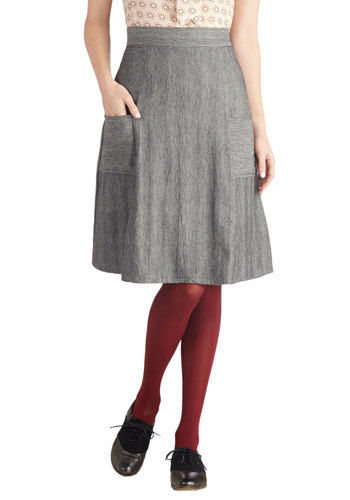 Jot That Down Skirt by Mata Traders - Grey, Herringbone, Pockets, A-line, Cotton, Woven, Mid-length, Casual, Eco-Friendly, Grey