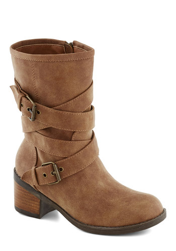 Toast Tested Boot - Mid, Faux Leather, Brown, Solid, Buckles, Fall, Better