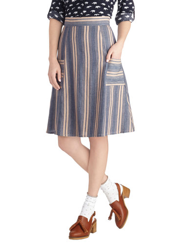 Macaron Your Day Skirt by Mata Traders - Stripes, Pockets, A-line, Cotton, Woven, Long, Casual, Eco-Friendly, Blue, Blue