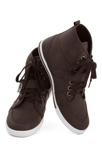 Spiffy in a Jiffy Sneaker - Flat, Brown, Solid, Casual, Lace Up, Good