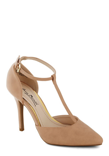 Altruistic Darling Heel in Tan - High, Faux Leather, Tan, Solid, Party, Good, T-Strap