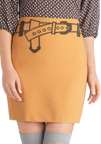Cinch There Was You Skirt - Short, Woven, Tan, Novelty Print, Quirky, Mini, Good, Casual, Vintage Inspired, 60s, Mod, Brown
