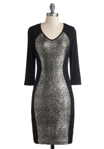 In Living Luster Dress - Mid-length, Jersey, Knit, Black, Silver, Glitter, Party, Bodycon / Bandage, Good, V Neck, Cocktail, Girls Night Out, Long Sleeve