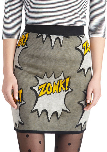 Right Onomatopoeia! Skirt - Grey, Novelty Print, Quirky, Mini, Knit, Grey, Short