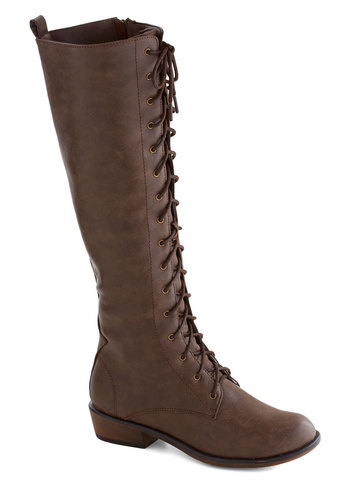 Tree Tapping Staple Boot in Maple - Brown, Solid, Steampunk, Low, Lace Up, Casual, Fall, Faux Leather, Military, Better